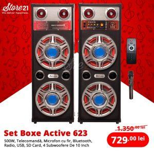 Set Boxe Active 623 , 500W ,Telecomanda, Bluetooth ,Radio, Usb ,SD Card,4 Subwoofere De 10 Inch