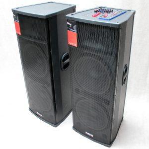 Set Boxe Profesionale Active , Bluetooth , 1120 W RMS , cu Mixer Puternic 2 microfoane fara fir