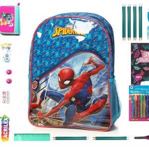 ferta WOW Pt. Clasele 0-3, Set Rechizite 26 Piese Calitate Premium, Ghiozdan Spider man Original.