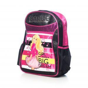 Ghiozdan Barbie Original,Un Compartiment principal mare,Buzunar Frontal, 2 Buzunare Laterale,Bretele Reglabile, Maner Silicon