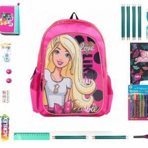 Oferta WOW Pt. Clasele 1-3, Set Rechizite 26 Piese Calitate Premium, Ghiozdan Barbie Original.