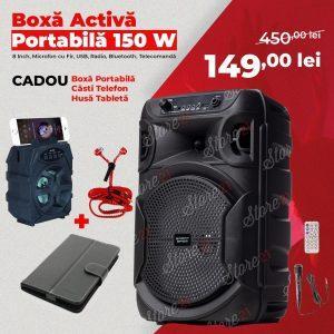 Boxa Activa Portabila  150 W , 8 Inch ,Microfon Cu Fir, USB, Radio, Bluetooth,Telecomandă+Cadou boxa portabila+casti telefon+husa tableta
