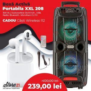 Boxa Activa Portabila XXL 208, 300 W, 2 Subwoofere De 8 Inch , USB, Radio, Blueooth , Microfoan CU Fir+ Castii wireless I12!