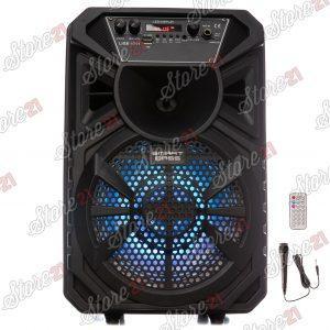 Boxa Activa Profesionala Portabila 250 W Troler 8 Inch ,Microfon , USB, Radio, Bluetooth,Telcomanda,cadou casca bluetooth