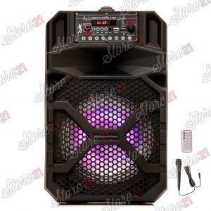 Boxa Activa Profesionala Portabila 200 W  Troler 8 Inch ,Microfon , USB, Radio, Bluetooth,Telcomanda CADOU Bratara fitness