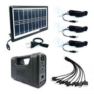 Sistem Solar pentru Camping cu 3 Becuri, Panou Solar Inclus, Port USB, Radio FM, MP3 Player, Lanterna cu Led-uri, Tensiune 110 - 240 V, 50/60 Hz, Design Modern, Negru