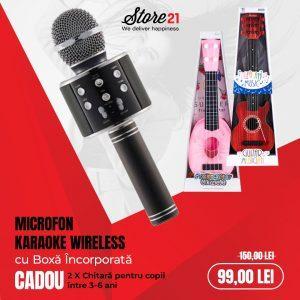 Microfon karaoke wireless, cu boxa incorporata cadou 2 x chitara copii 3 si 6 ani