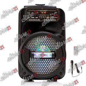 Boxa Activa Profesionala Portabila 250 W Troler 8 Inch ,Microfon , USB, Radio, Bluetooth,Telcomanda,cadou Smartwatch + Casti telefon
